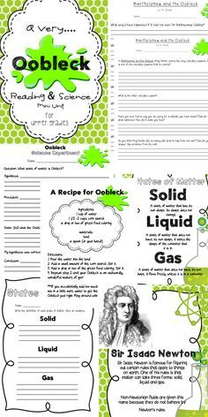 Oobleck! Science and Reading Unit using Dr. Seuss' book Bartholomew and the Oobleck! Learn about solids, liquids, and gases and non-Newtonian substances. Your kids will have a blast! The unit also includes comprehension questions for the book and an article about about Sir Isaac Newton and Non-Newtonian substances explaining why Oobleck is a solid and a liquid!