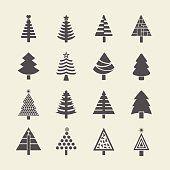Abstrait arbre de Noël Ensemble d'icônes silhouette