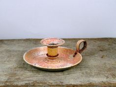 Vintage French enamel candle holder  peach decor  by letsbevintage, $12.00