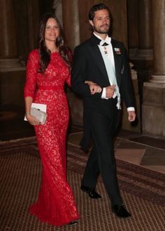 happyswedes:  Swedish Royals Host Official Dinner at the Royal Palace, November 18, 2014-Prince Carl Philip and his fiancée Miss Sofia Helqvist