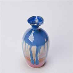 MansAge Ma.C-3058 Handmade Flower Vase Chinese Style Crafted Ceramic Sagging Glaze Flower Holder $35.10