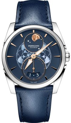 Buy this Parmigiani Fleurier Tonda Metropolitaine Selene Moon Phase Steel Set Blue Bracelet here at Exquisite Timepieces, we are Authorized Dealers Best Watches For Men, Cool Watches, Wrist Watches, Latest Watches, Women's Watches, Elegant Watches, Beautiful Watches, Casual Watches, Girls Wrist Watch