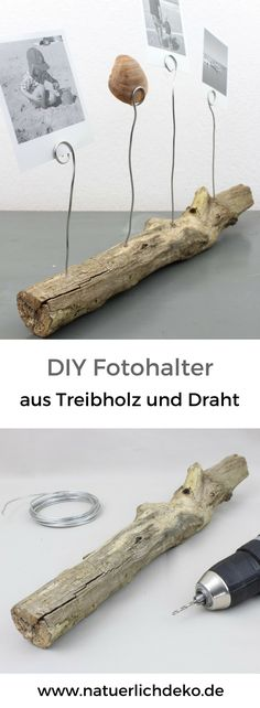 DIY Fotohalter aus Treibholz – Natürlich Deko Easily craft a photo bar made of driftwood and wire for holiday memories. Diy Home Crafts, Diy Crafts For Kids, Crafts To Sell, Wood Crafts, Sell Diy, Decor Crafts, Craft Ideas, Diy Photo, Ideas Para Madera