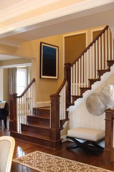 New Ideas dark wood interior trim newel posts Craftsman Staircase, Craftsman Interior, Basement Staircase, Dark Interiors, Wood Interiors, Interior Stairs, Interior Trim, Grey Wood Furniture, Wood Tile Kitchen