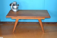 Early 1950's atomic style solid heart Kauri coffee table.