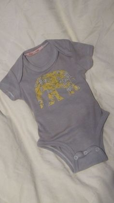 Yellow & Gray flower elephant baby onesie with Caboosee back by MomMadePeeks, $13.00