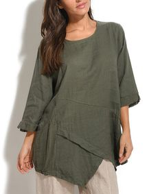 An elegant, layered tulip hem adds chic charm to this go-to tunic. The lightweight linen and three-quarter sleeves keep you coolly comfortable. Size note: This item is from a European brand. Please refer to the size chart to ensure best fit.  Shipping note: This item is shipping internationally. Allow extra time for its journey to you.