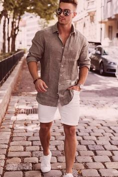 Summer Outfits Men, Stylish Mens Outfits, Men's Beach Outfits, Men's Casual Outfits, Men Summer Fashion, H M Outfits, Smart Casual Menswear, Men Casual, Men Fashion Casual