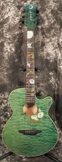 2014 Luna Guitars Flora Series Custom Folk Acoustic Electric Guitar MoonFlower