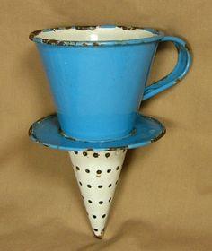 Graniteware Percolator Witch's Hat Funnel Sieve Strainer Cone Enamelware Enamel | eBay