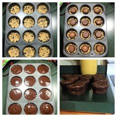 So much chocolate goodness! 1 box of brownie mix  1 package of cookie dough 12 Reese cups or Oreos   Press cookie dough into cookie sheet. Then put Reese cup or Oreo on top. Then take the brownie mix over top!  Bake for 18-25 minutes at 350 degrees!