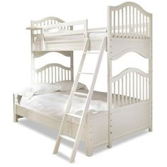 Smartstuff Genevieve's Wood Twin Over Full Bunk Bed ($1,710) ❤ liked on Polyvore featuring home, children's room, children's furniture and white