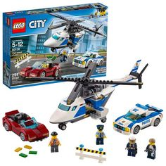 LEGO City Police High-Speed Chase 60138 Building Toy with Cop Car, Police Helicopter, and Getaway Sports Car Pieces) - Toys Lego City Police Sets, Lego City Sets, Police Cars, Lego Sets, Lego Duplo, Lego Ninjago, Legos, Helicopter Pilots, Toy Helicopter