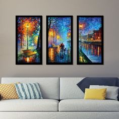 "Leonid Afremov ""Melody Of The Night"" Framed Plexiglass Wall Art Set of 3 Panel Wall Art, Wall Art Sets, Multiple Canvas Paintings, Framed Art Prints, Fine Art Prints, Acrylic Wall Art, Fall Mantel Decorations, Leonid Afremov Paintings, Wall Art Pictures"