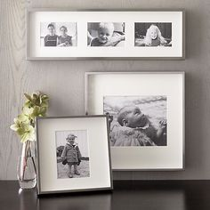 Brushed Silver Wall Frames in Frames, Ledges | Crate and Barrel  I like the depth of the display w/ two on wall and one on the desk...