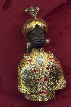 """Venetian blackamoor brooche """"San Marco"""" Yellow Gold 18 kt and Silver 800 Diamonds Ruby Head - in carved ebony Size cm 5.5 Hand made"""