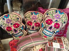 PURCHASED!! Sugar Skull Hand Embroidered Day of the Deads Pillow