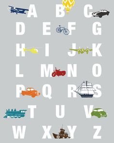 ALPHABET Wall Art TRANSPORTATION Boys Room, 8 x 10 Print by nevedobson - available in different sizes and colors. $22.00, via Etsy.