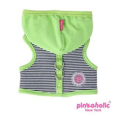 """Pinkaholic NY """"Harper Pinka""""  Wrap-around-Velcro Hooded Harness Vest in Lime Green Stripe"""