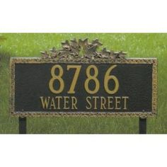 Whitehall Ivy Estate Lawn Address Plaque Two Line Version by Whitehall. $188.99. The must-have address plaque this year is the Ivy Lawn Address Plaque. With a hint of formal elegance, this finely-crafted plaque displays any address with true distinction. Rust proof cast aluminum and baked on enamel finish makes this plaque one of the most durable address markers you can buy. This estate sized plaque is perfect for larger residences or homes on corner lots. Comes complete ...