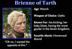Game of Thrones Trading Cards - Brienne of Tarth