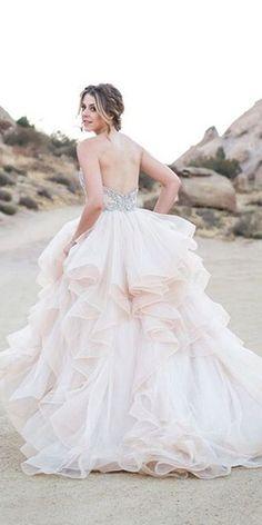 9cc23d21f0002 27 Peach   Blush Wedding Dresses You Must See. ピーチブラッシュフォーマルドレスウェディング ...