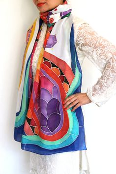 MADE TO ORDER Processing time: 1-2 weeks An exquisite generously sized hand painted silk scarf featuring a vibrant colour palette! This is a custom order ,i merged colours and motifs of two scarves to create this exclusive piece for my client. This scarf can be recreated easily! its a must