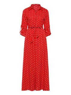 Women Travel Beach Vintage Black Red Blue Polka Dot Lace Up Belt Maxi Dresses Office Wear Split Pocket Long Shirt Dress Red S Red S, Red And Blue, Long Shirt Dress, Woman Silhouette, Blue Polka Dots, Collar Dress, Modest Outfits, Office Wear, Types Of Sleeves
