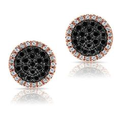 14kt rose gold diamond and black diamond disc stud earrings ($839) ❤ liked on Polyvore featuring jewelry, earrings, black diamond jewellery, diamond jewelry, disc stud earrings, disc earrings and diamond disc earrings