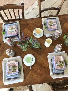 The table layout at the Chateau Sewing Weekend where we made Sugar Plum Chateau Mice! Mollie Makes, White Cottage, Mice, Plum, Doll Clothes, Create Your Own, Awards, Table Settings, Workshop