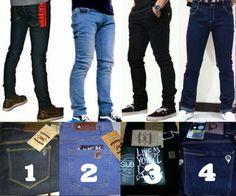 Celana jeans standar pria Pensil PSD