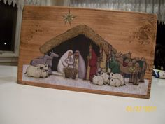 nativity ornaments homemade | Craft Track: Nativity Wood thing