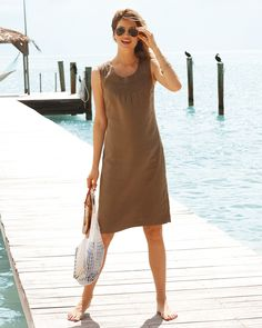128.00 Laundered Linen Summer Dress This easy-to-wear simple sleeveless shift dress is ideal for the new season.