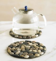 Protect and decorate your table with Multi-Color River Stone Placemats