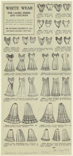 1905 underthings- petticoats, shift, corsets :)