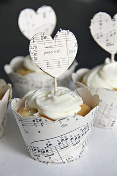 Vintage sheet music cupcake wrappers by DazzleDelightParties