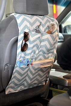 sewn car organizer,,,need to make one! my mom made something sort of like this... works great!!