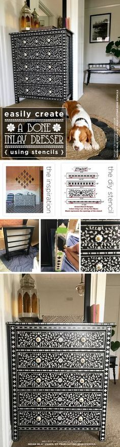 Cutting Edge Stencils shares a DIY stenciled dresser given a bone inlay look using the Indian Inlay Stencil Kit designed by Kim Myles. http://www.cuttingedgestencils.com/indian-inlay-stencil-furniture.html