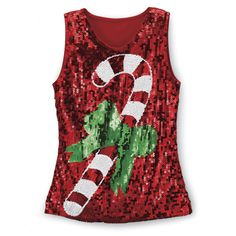 Sequined Candy Cane Top - Best Selling Gifts, Clothing, Accessories, Jewelry and Home Décor