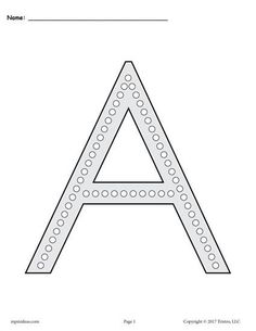 FREE Printable Uppercase Letter A Q-Tip Painting Printables! Letter A worksheets like these are perfect for preschoolers and kindergartners. Practice letter recognition, fine motor skills, and more with our dot painting printables! Get the free letter A coloring pages and alphabet worksheets here --> https://www.mpmschoolsupplies.com/ideas/7807/free-letter-a-q-tip-painting-printables-includes-uppercase-and-lowercase-letter-a-worksheets/