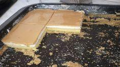 Potrebujeme: Cesto 6 vajec 6 lyžíc práškového cukru 2 lyžice oleja 6 lyžíc polohrubej múky polovica prášku do pečiva tvarohový krém Kocka masla – 250 g masla 100-150 g cukru práškového šťava a kôra z polovice citróna, 2 tvarohy (ten vo vaničke) (ja pridávam ešte 3-4 lyžice kyslej smotany, ale nemusíte) Poleva 1 karamelové salko, 1 smotana na šľahanie 31% Czech Recipes, Sweet Desserts, Griddle Pan, Food And Drink, Pudding, Treats, Homemade, Chocolate, Baking
