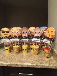 Emoji Bday Party Centerpieces - Did these for my daughter's Bday Party. Photo and creation by me- Elsa Abarca.