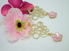 Gold and Pink Flower Chandelier Earrings. $24.00  http://www.etsy.com/shop/FrenchRobinDesigns?ref=si_shop