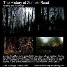 Zombie Road has quite a reputation as a place where shadowy figures and other non human entities have long been reported. Gregory Myers of the Paranormal Task Force presents this piece on the history. Spooky Stories, Weird Stories, Ghost Stories, Urban Stories, Horror Stories, Scary Places, Haunted Places, Creepy Things, Creepy Stuff