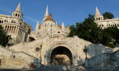 The Halászbástya or Fisherman's Bastion is a terrace in neo-Gothic and neo-Romanesque style situated on the Buda bank of the Danube, on the Castle hill in Budapest, around Matthias Church