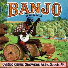 Florida FL Oviedo Banjo Orange Citrus Fruit Crate Box Label Art Print