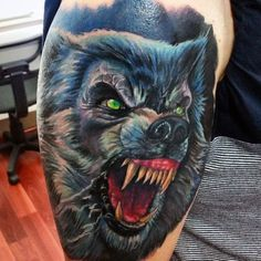 d687b7311 Green Eyed Scary Werwolf Tattoo Male Upper Arms Dad Tattoos, Life Tattoos, Sleeve  Tattoos