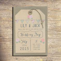 25 Country Wedding Invitations, Wedding Stationery, Outdoor Wedding, Modern Wedding, Bunting on Etsy, $87.25