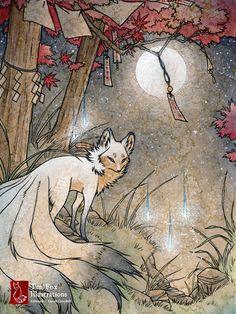 Fox and Wisps / Kitsune Fox Spirit Yokai / от TeaFoxIllustrations