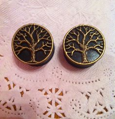 Bronze Tree of Life Black Plugs Gauges 11/16 18mm by brittnaayx3, $15.99
